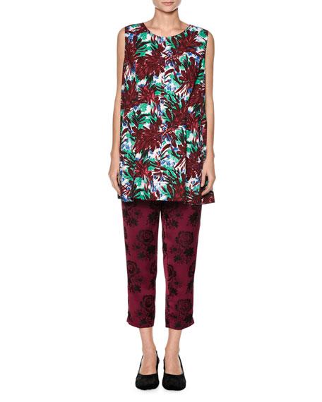 Sleeveless Floral-Print Swing Top