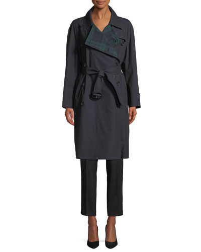 Tartan-Lined Gabardine Trenchcoat and Matching Items