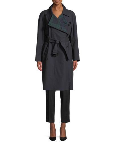 Tartan-Lined Gabardine Trenchcoat and Matching Items