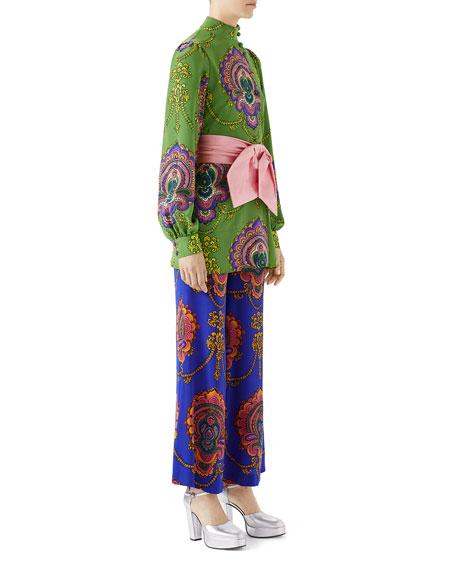 Treasure-Print Silk Crepe Blouse