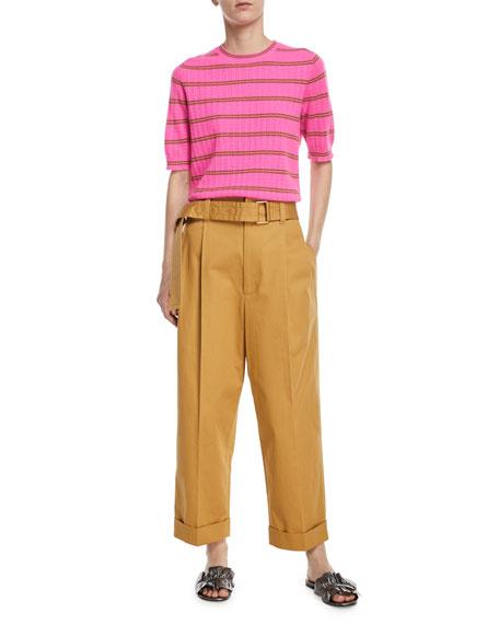 Striped Half-Sleeve Cashmere Sweater