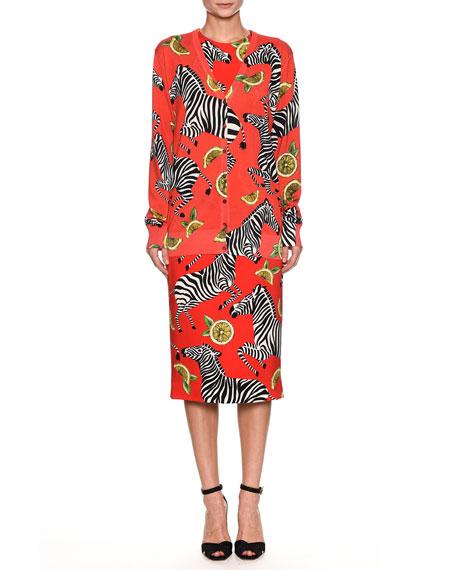 Zebra-Lemon Print V-Neck Button-Front Silk Cardigan