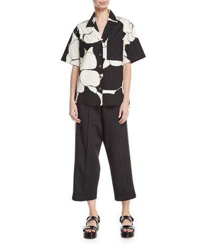 Oversized Abstract-Print Camp Shirt and Matching Items