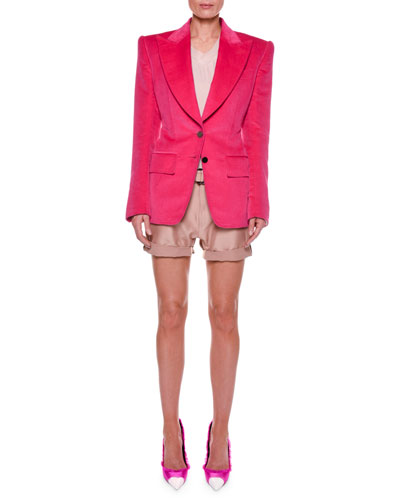 Cotton Velvet Two-Button Jacket with Strong Shoulders and Matching Items