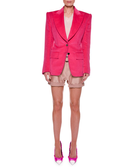 Cotton Velvet Two-Button Jacket with Strong Shoulders
