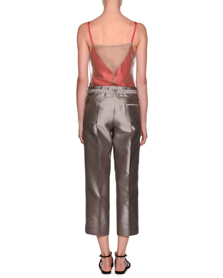 Notched-Collar 2-Button Windowpane Silk Jacket