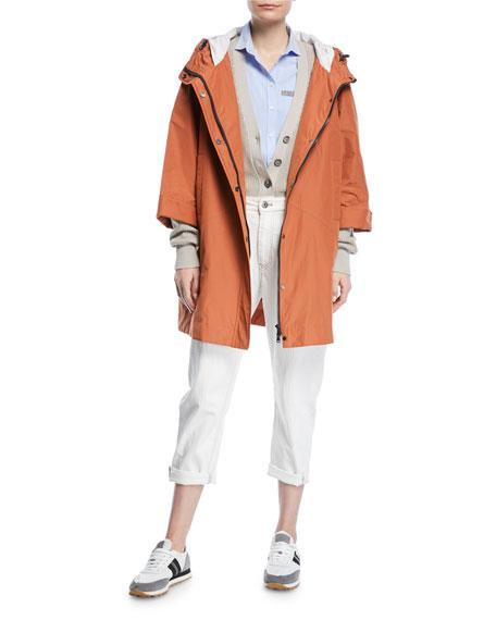 Hooded Taffeta Mid-Length Coat