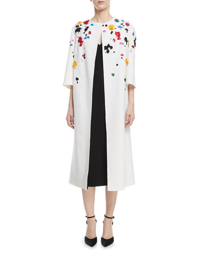 Splatter-Beaded Long Wool Coat and Matching Items