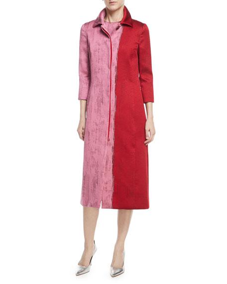 Colorblock Jacquard A-Line Coat