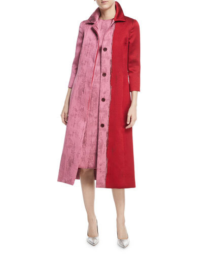 Colorblock Jacquard A-Line Coat and Matching Items