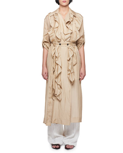 Silk Habutai Belted Long Ruffled Trench Coat and Matching Items