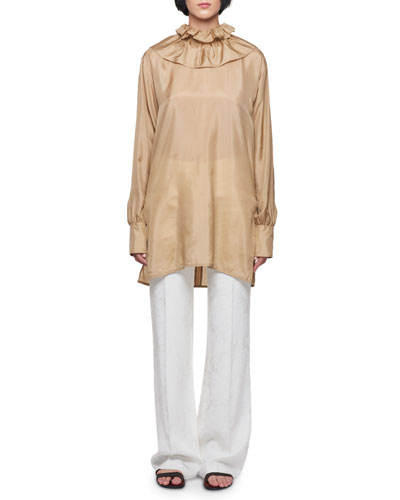 High-Neck Silk Blouse and Matching Items