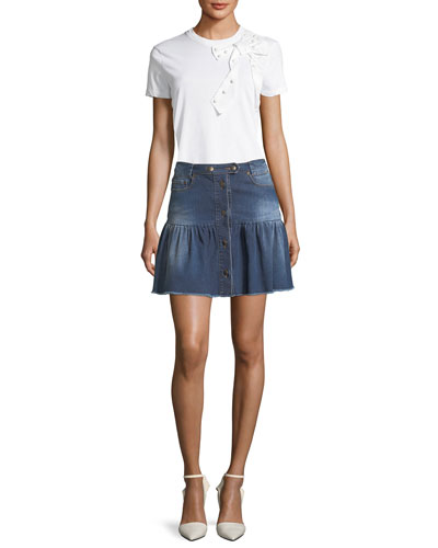Stone-Washed Button-Front Denim Skirt and Matching Items