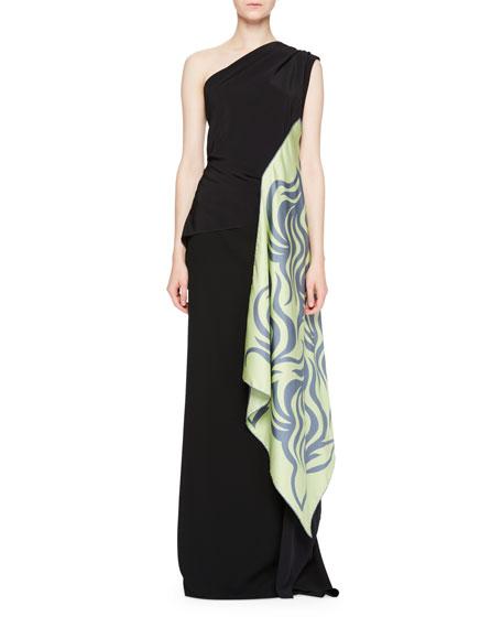 Cremy One-Shoulder Gown w/Foulard Sash