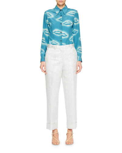 Capios Lip-Print Silk Blouse and Matching Items