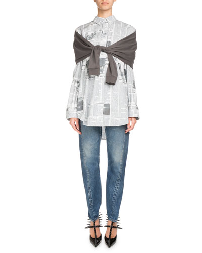 Newspaper-Print Button-Front Long-Sleeve Shirt and Matching Items