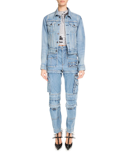 Button-Front Light-Wash Denim Jacket and Matching Items