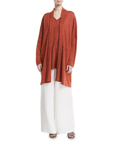 Long Hand-Loomed Linen Banded Cardigan and Matching Items