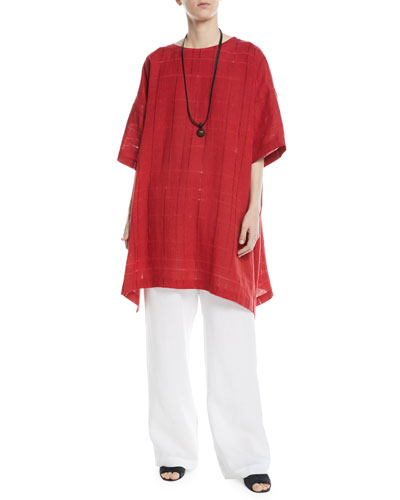 Long A-Line Knit Linen T-Shirt  and Matching Items