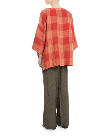 3/4-Sleeve Plaid Linen Tunic