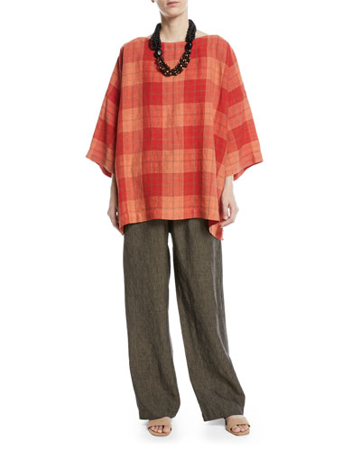 3/4-Sleeve Plaid Linen Tunic  and Matching Items