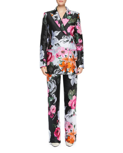 Floral-Jacquard Double-Breasted Jacket and Matching Items