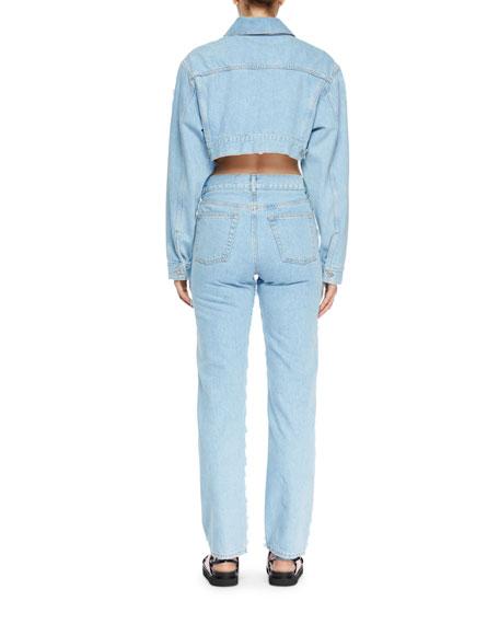 Cropped Zip-Front Jean Jacket