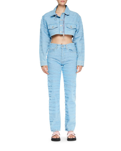 Cropped Zip-Front Jean Jacket and Matching Items