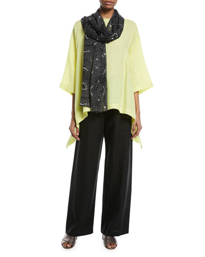 3/4-Sleeve Cascading Sides Linen Tunic  and Matching Items