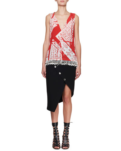 Sleeveless Bandana Fringe-Hem Silk Blouse and Matching Items