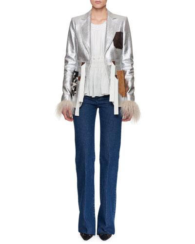 Metallic Coated Tweed Jacket w/Fur Trim and Matching Items