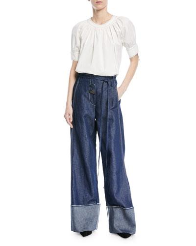 Peyton High-Waist Wide-Leg Linen-Cotton Pants and Matching Items
