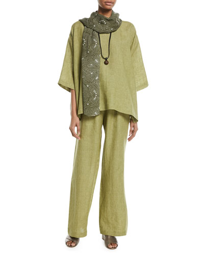 3/4-Sleeve Linen Crosshatch Tunic  and Matching Items