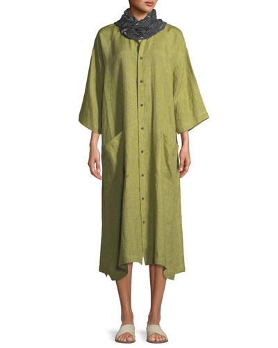 3/4-Sleeve Linen Shirt Dress   and Matching Items