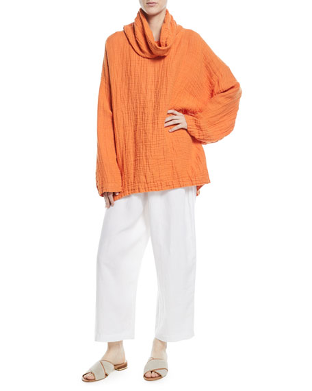 Wide Linen Monks Top
