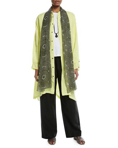 Wide Mandarin-Collar Linen T-Shirt  and Matching Items