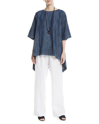 Bateau-Neck High-Low Linen T-Shirt  and Matching Items