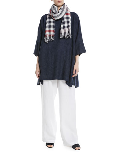 3/4-Sleeve Crosshatch Linen Tunic  and Matching Items