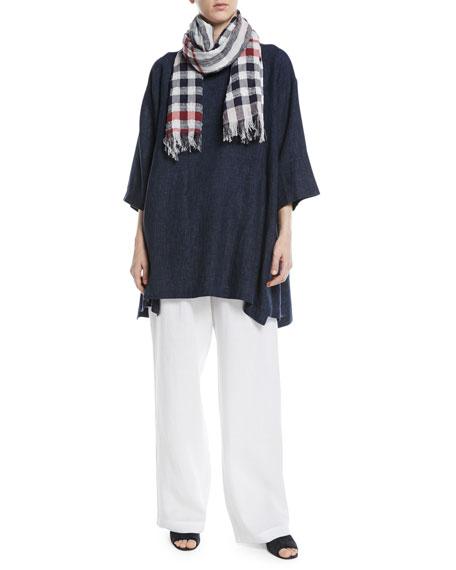 3/4-Sleeve Crosshatch Linen Tunic