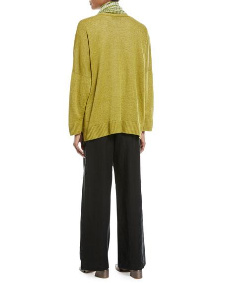 3/4-Sleeve Linen Cardigan