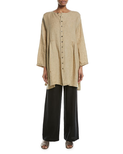 Round-Neck Pleated Linen T-Shirt  and Matching Items