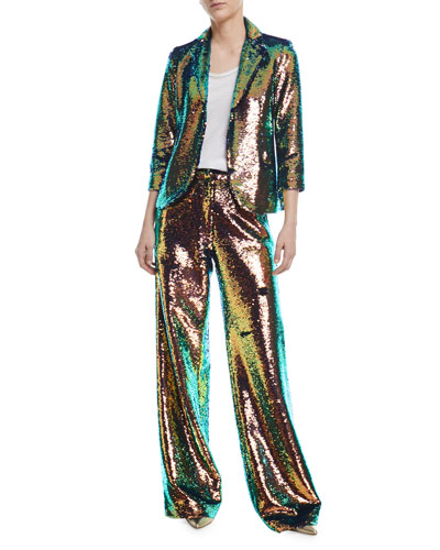 Sequined 3/4-Sleeve Jacket and Matching Items