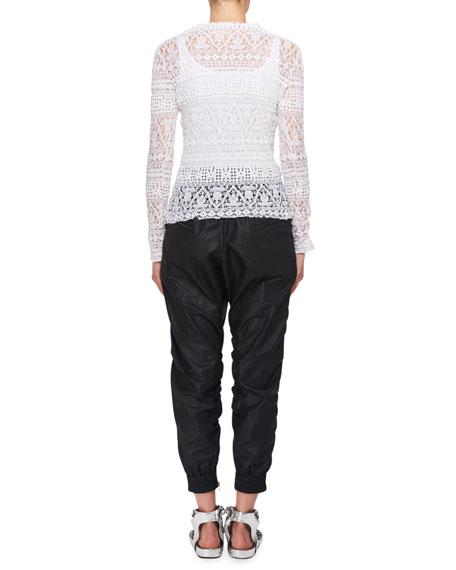 Yulia Long-Sleeve Stretch Lace Sweater