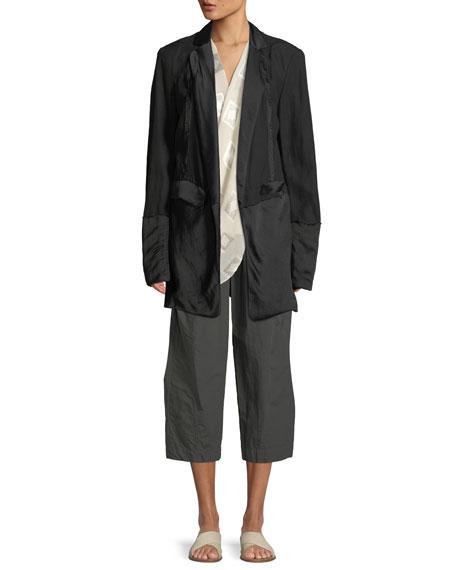 Deconstructed Satin Tuxedo Jacket