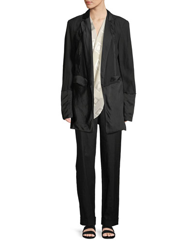Deconstructed Satin Tuxedo Jacket and Matching Items