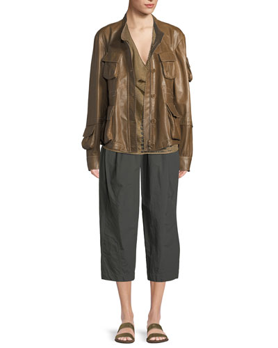 Button-Down Lamb Leather Anorak Jacket  and Matching Items