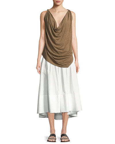 Twisted Linen Jersey Cowl-Neck Tank Top and Matching Items