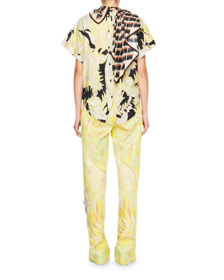 Coxi Scarf-Neck Floral Top