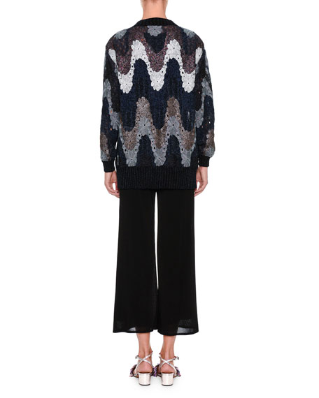 Flame Knit Open-Front Cardigan