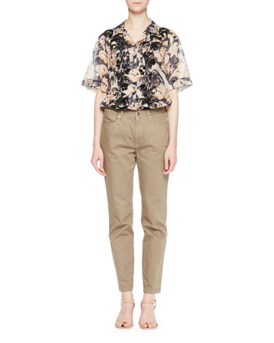 Cliven Embroidered Tropical Short-Sleeve Blouse and Matching Items